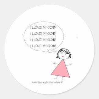lovemyjobgirl classic round sticker