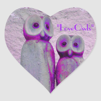 """""""LoveOwls"""" Cute Save the Date Bride and Groom Heart Sticker"""