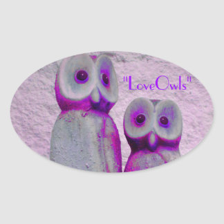"""""""LoveOwls"""" Cute Save the Date Bride and Groom Oval Sticker"""