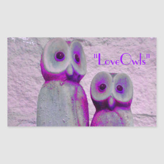"""""""LoveOwls"""" Cute Save the Date Bride and Groom Rectangular Sticker"""