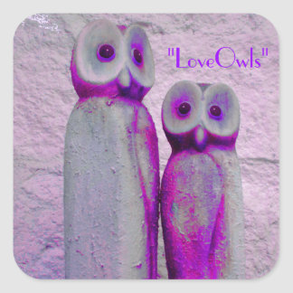 """""""LoveOwls"""" Cute Save the Date Bride and Groom Square Sticker"""