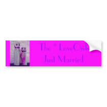 """LoveOwls"" Cute Wedding Vibrant Pink/Purple Design Bumper Sticker"