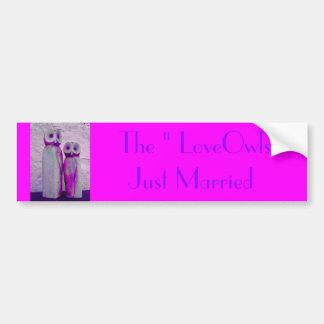 """LoveOwls"" Cute Wedding Vibrant Pink/Purple Design Bumper Sticker"