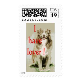 Lover cartoon dog postage stamps