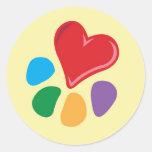 Lover_Heart-Paw animal Pegatinas Redondas