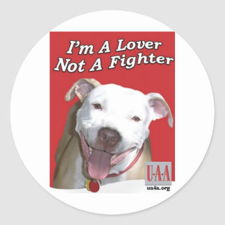 LOVER NOT A FIGHTER CLASSIC ROUND STICKER