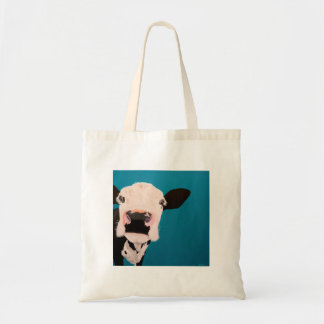 """' Lover Not a Fighter """" Cow tote bag."""