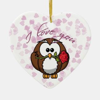 lover owl ceramic ornament