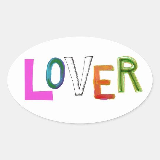 Lover partner girlfriend boyfriend spouse word art oval sticker