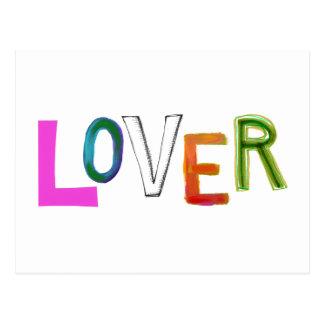 Lover partner girlfriend boyfriend spouse word art postcard