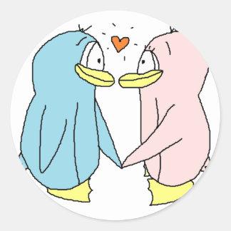 Lover Penguins Classic Round Sticker
