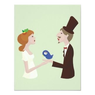 Lover with blue bird, wedding card