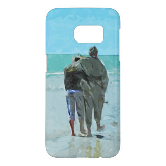 Lovers Anniversary Walk on the Beach Abstract Samsung Galaxy S7 Case