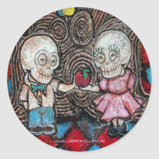 Lover's apple classic round sticker