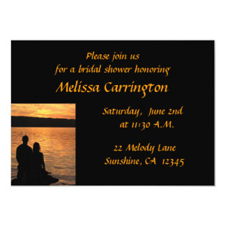 Lovers at Sunset Bridal Shower 5x7 Paper Invitation Card