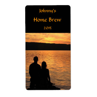 Lovers at Sunset Lake Beer Label Shipping Label
