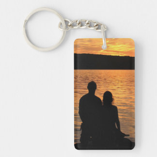 Lovers at Sunset Lake Keychain