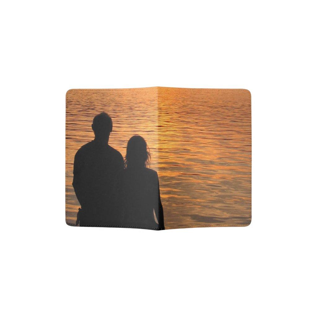 Lovers at Sunset Lake Passport Holder
