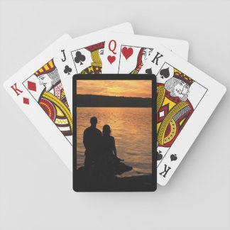 Lovers at Sunset Lake Playing Cards