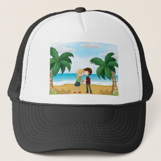 Lovers at the beach trucker hat