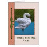 Lover's Birthday Card with Mute Swan Bird