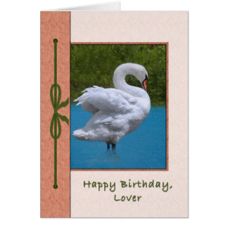 Lover's Birthday Card with Mute Swan Bird