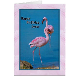 Lover's Birthday Card with Pink Flamingo