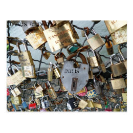 Lovers Bridge Locks Paris Seine Monument Amor Postcard