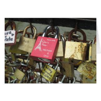 Lovers Bridge - Paris Love Locks, France - Zoom in Card