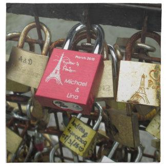 Lovers Bridge - Paris Love Locks, France - Zoom in Cloth Napkin