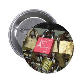 Lovers Bridge - Paris Love Locks, France - Zoom in Pinback Button