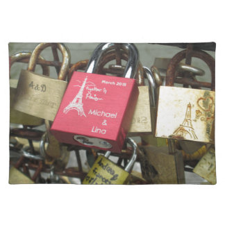 Lovers Bridge - Paris Love Locks, France - Zoom in Placemat