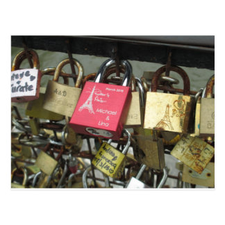 Lovers Bridge - Paris Love Locks, France - Zoom in Postcard