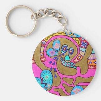 Lovers Broken Hearts & Tears Day Of The Dead Basic Round Button Keychain