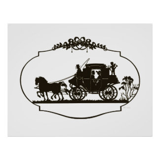 Lovers Carriage Silhouette 1880 Poster