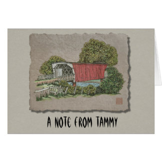 Lovers Covered Bridge Stationery Note Card