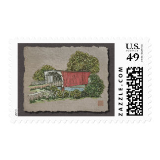Lovers Covered Bridge Postage Stamp