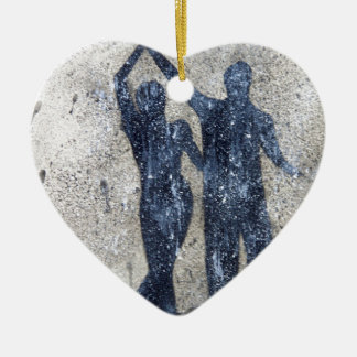 Lovers dancing in rain ceramic ornament