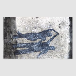 Lovers dancing in rain rectangular sticker