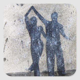 Lovers dancing in rain square sticker