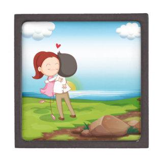 Lovers dating at the riverbank keepsake box