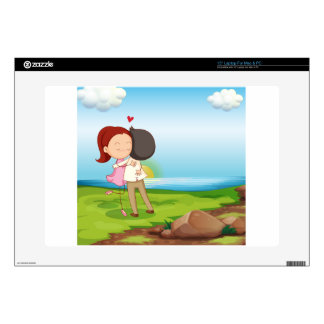 Lovers dating at the riverbank laptop decals
