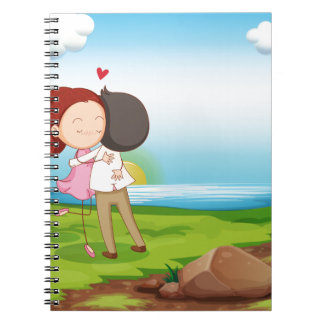 Lovers dating at the riverbank spiral notebook