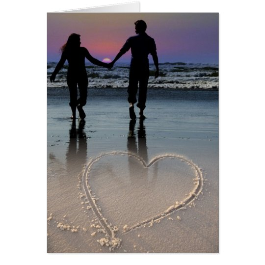 Lovers Holding Hands Walking into the Beach Sunset Card