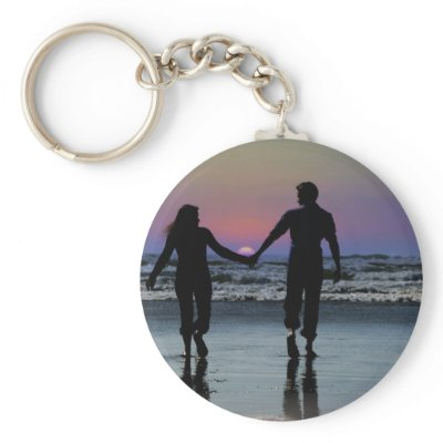 Lovers Holding Hands Walking into the Beach Sunset Key Chains by