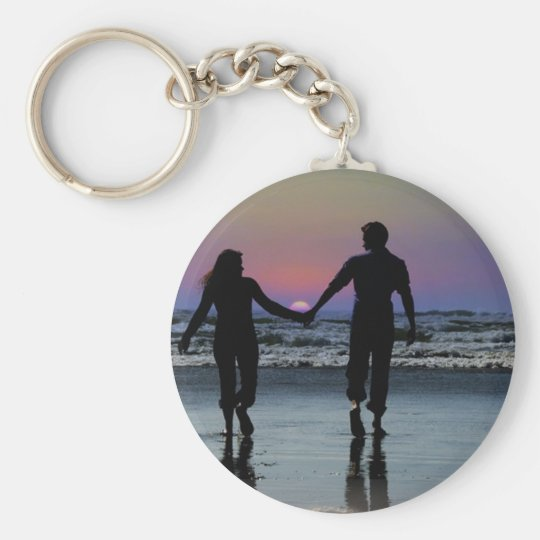 Lovers Holding Hands Walking into the Beach Sunset Keychain
