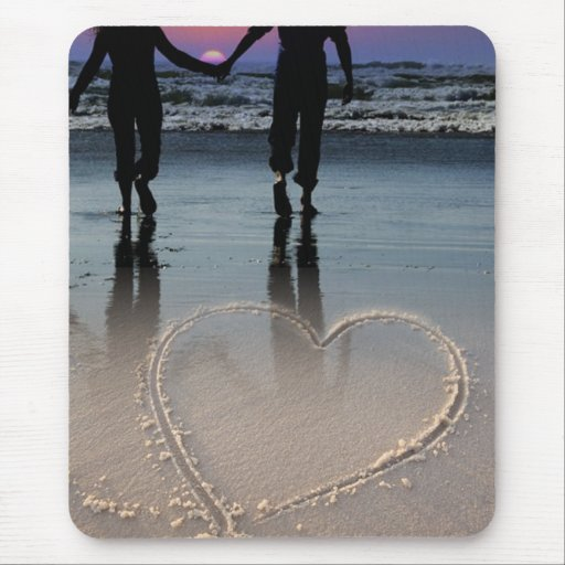 Lovers Holding Hands Walking into the Beach Sunset Mouse Pad