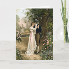 Lovers in a Rose Garden - Express your Love with this Elegant Greeting Card. Perfect for a Valentine's Day.