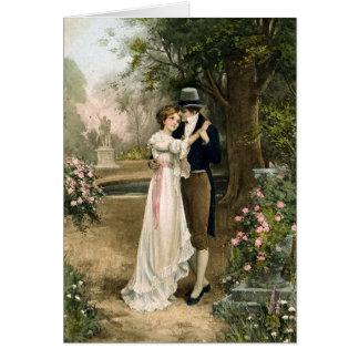 Lovers in a Rose Garden Card