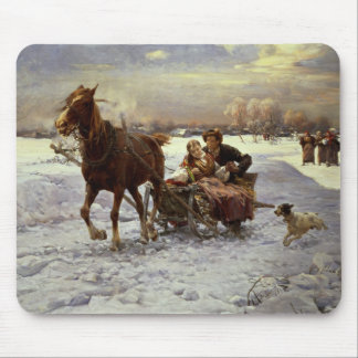 Lovers in a sleigh mouse pad